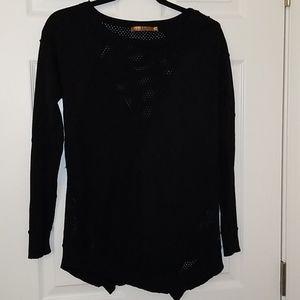 BELLDINI Asymmetrical Mesh/Knit Black Sweater
